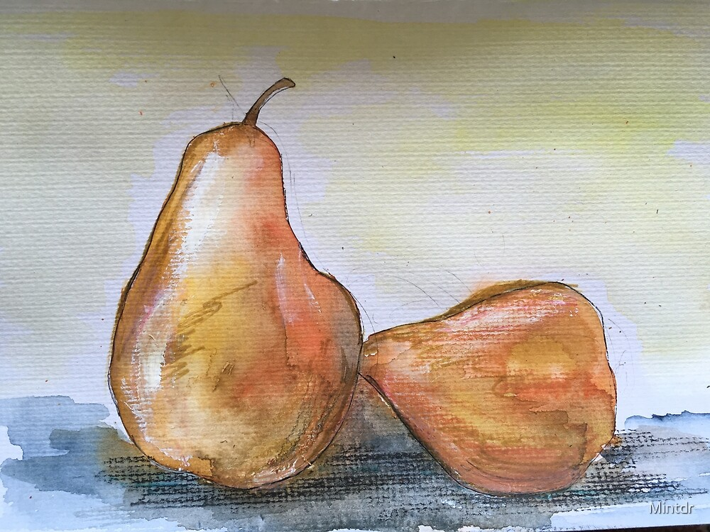 Watercolor pears by Mintdr