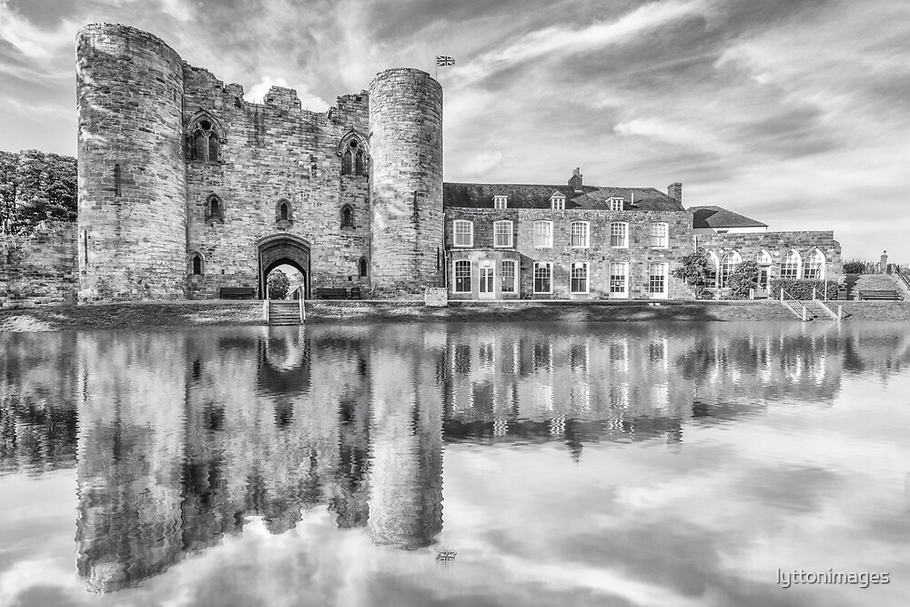 Tonbridge Castle Reflections 2 (black and white) by lyttonimages