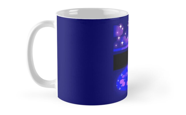 Pink and Blue Moon mug by hoofscout