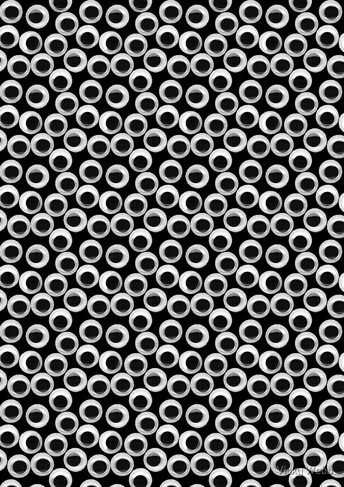 Googly Eye Pattern - Black by Vicky Webb