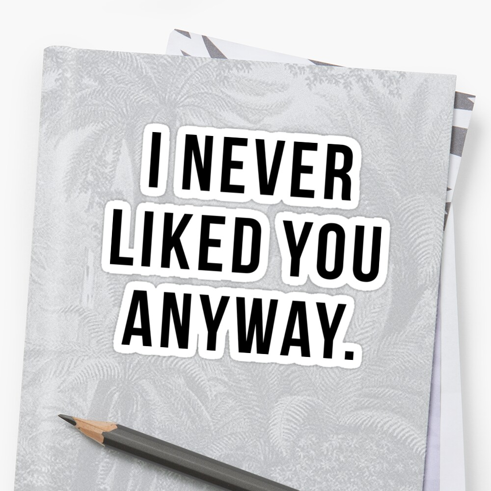 I Never Liked You Anyway Stickers By Limitlezz Redbubble