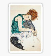 Egon Schiele Femme assise avec genou plié Sticker