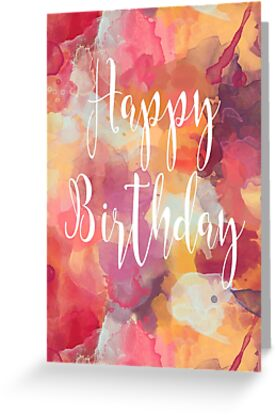 Happy Birthday Abstract Watercolour Calligraphy - Red, Yellow, Purple by Leona Hussey