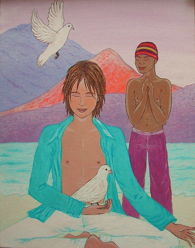 Two Men Meditating by MireilleViot