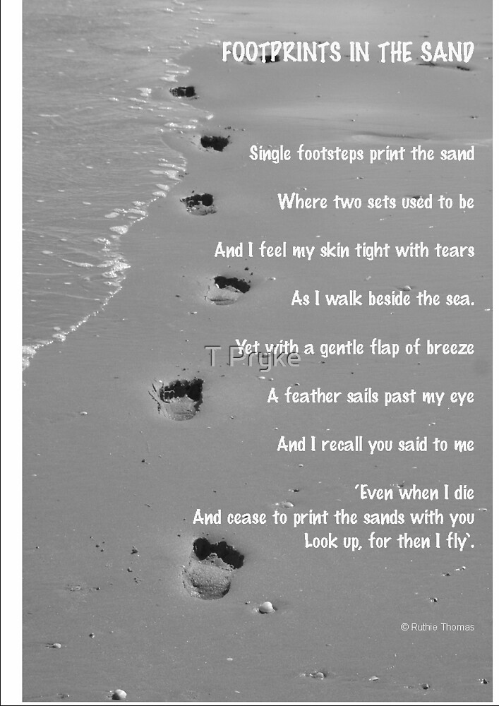 """footprints in the sand words by Ruthie Thomas"" by T Pryke ..."