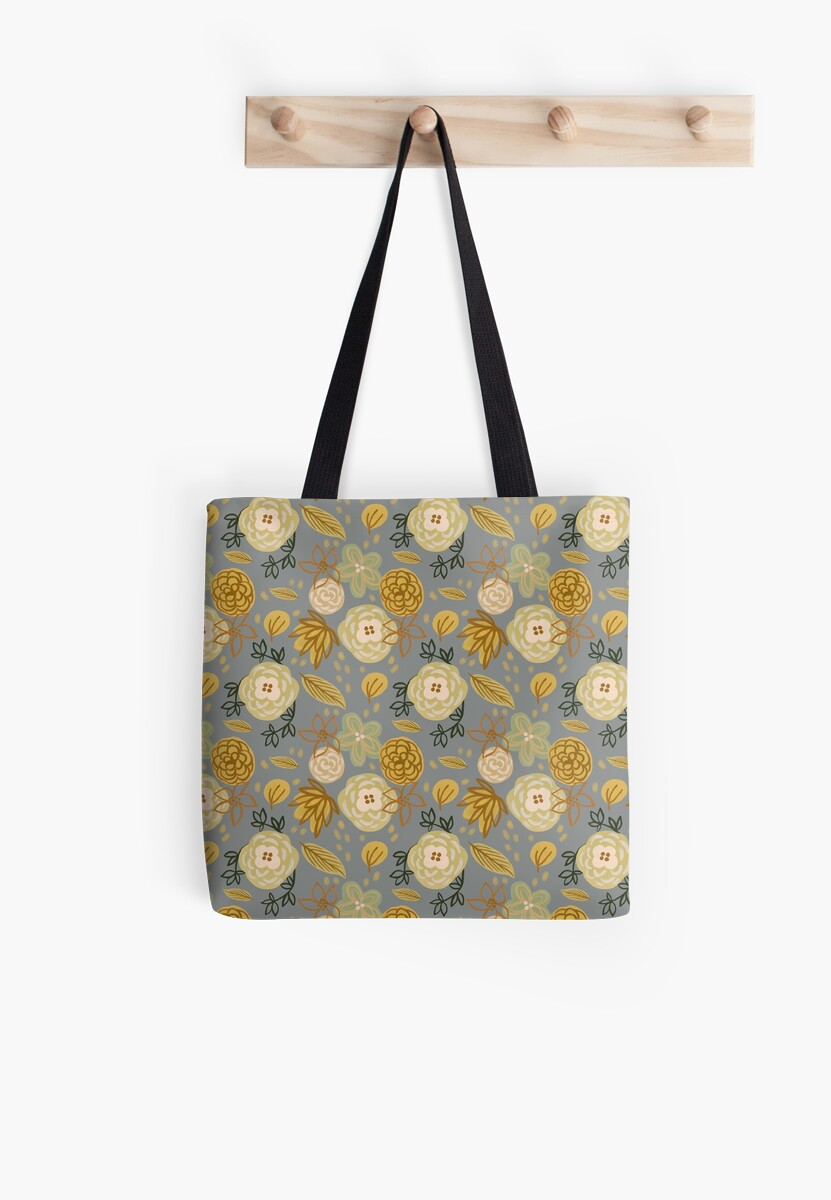 Gold Floral on Gray - Repeat Pattern by denadraws