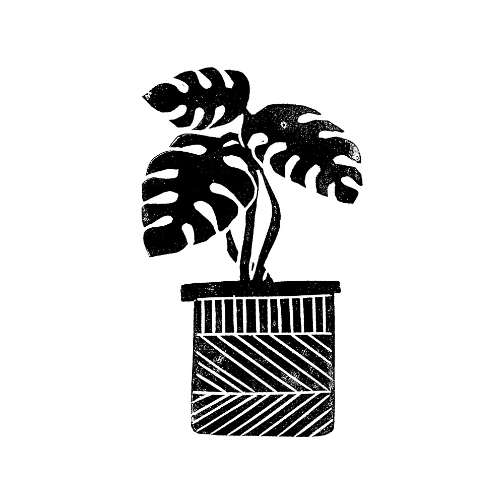 Linocut Houseplant monstera nature botanical black and white minimalist decor by monooprints