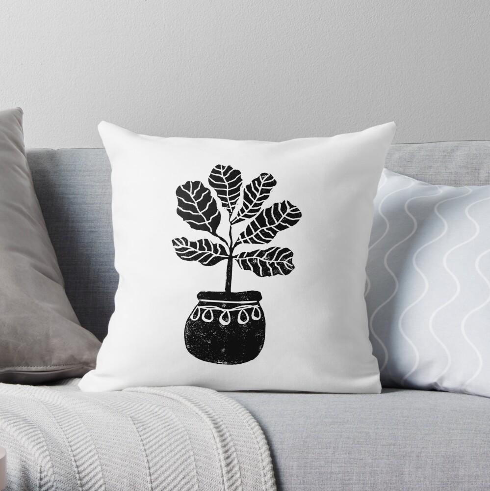 Linocut Houseplant fiddle fig nature botanical black and white minimalist decor Throw Pillow