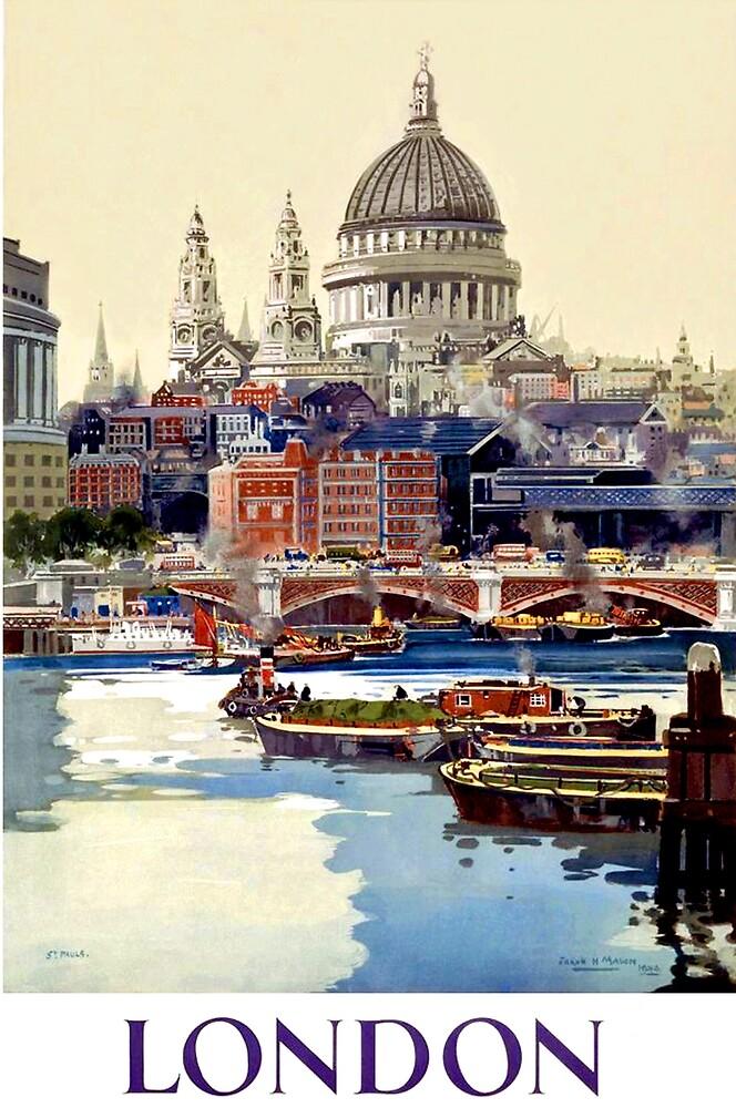 London, Capitol, United Kingdom, port, boats, travel poster by AmorOmniaVincit