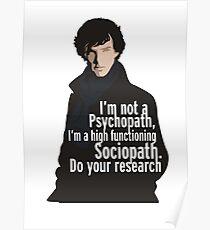 Sherlock - Psychopath/ Sociopath Poster