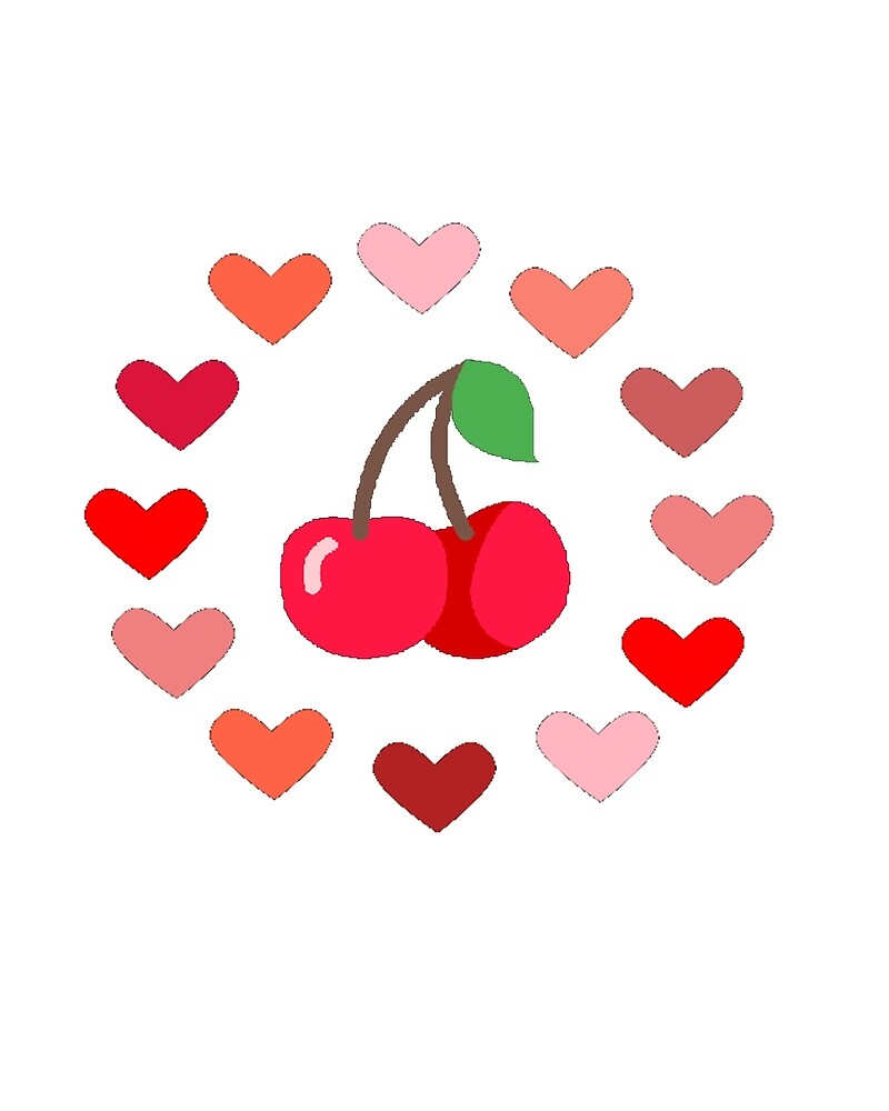Cherries and hearts white background by 4NorthernDesign