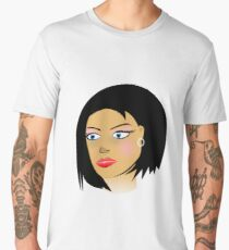 Girl Black Hair Fashion Art Men's Premium T-Shirt