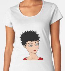 Girl Face Black Hair Fashion Art Women's Premium T-Shirt