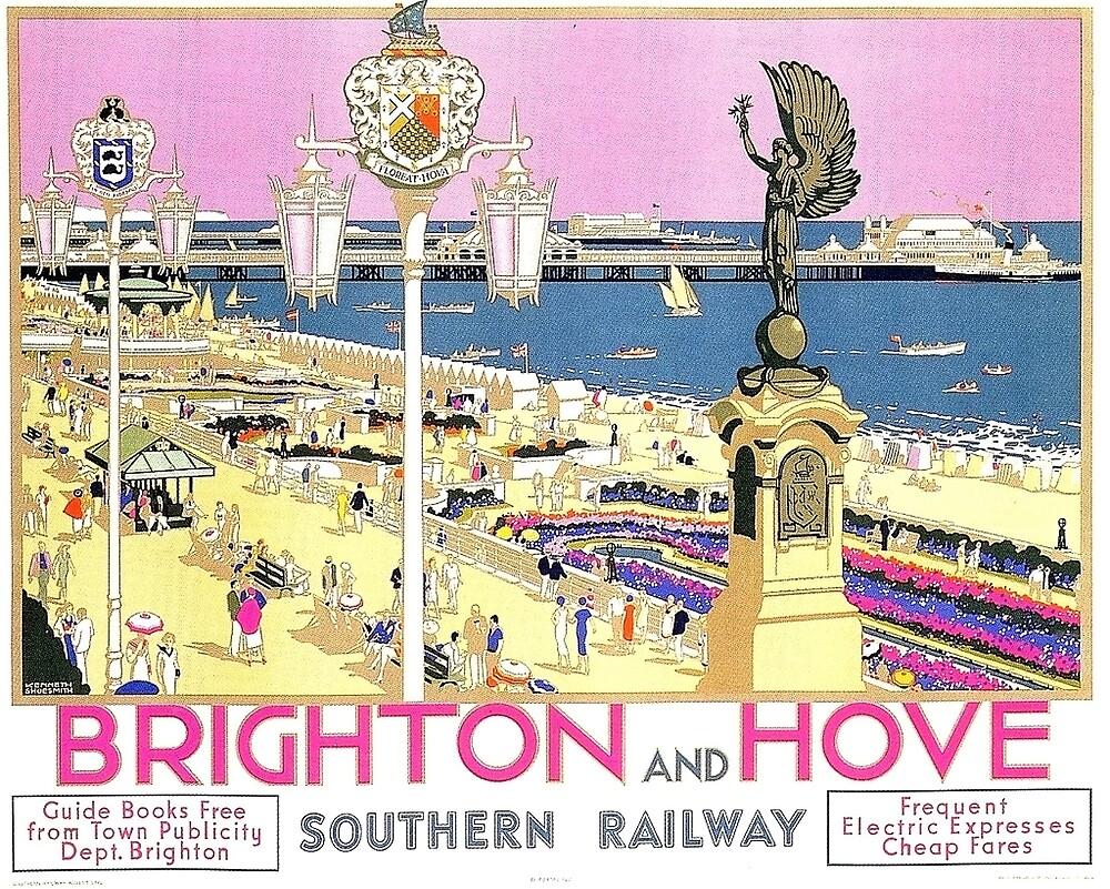 Brighton and Hove, coast, England, travel poster by AmorOmniaVincit