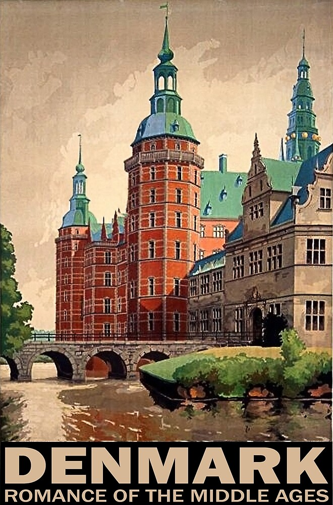 Denmark, Castle, romance of the middle age, travel poster by AmorOmniaVincit