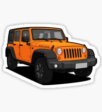 Orange Jeep Wrangler Rubicon SUV Sticker