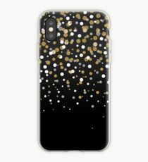 Pretty modern girly faux gold glitter confetti ombre illustration iPhone Case