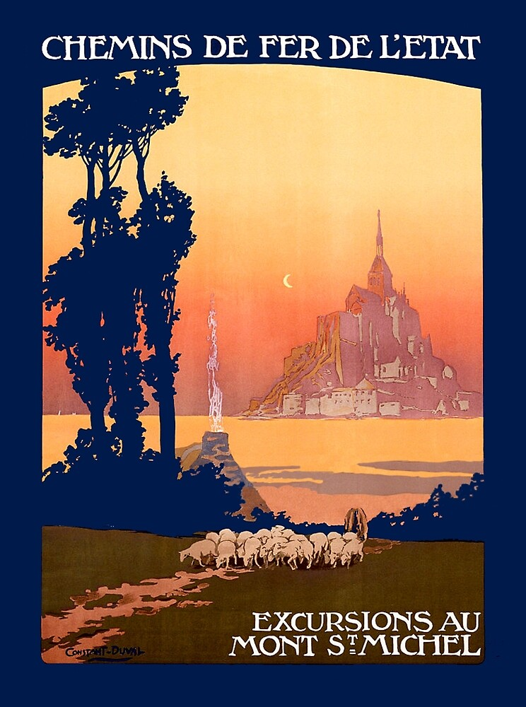 French railway, France, excursion to Mont St. Michel, travel poster by AmorOmniaVincit