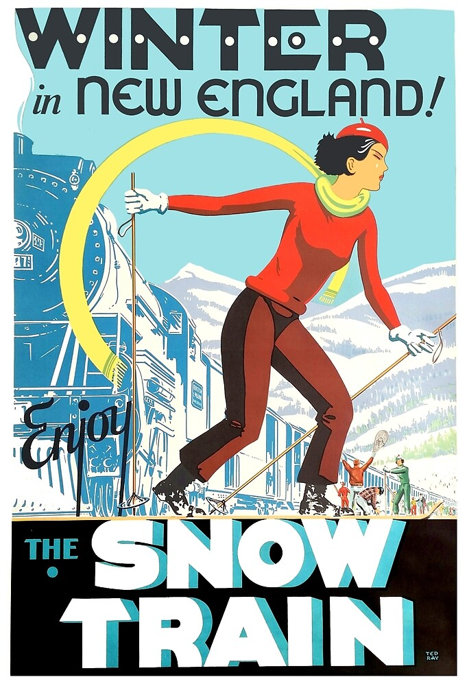 Winter in New England, Snow train, ski girl, travel poster by AmorOmniaVincit