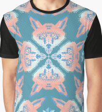 Pastel Fox Patten Graphic T-Shirt