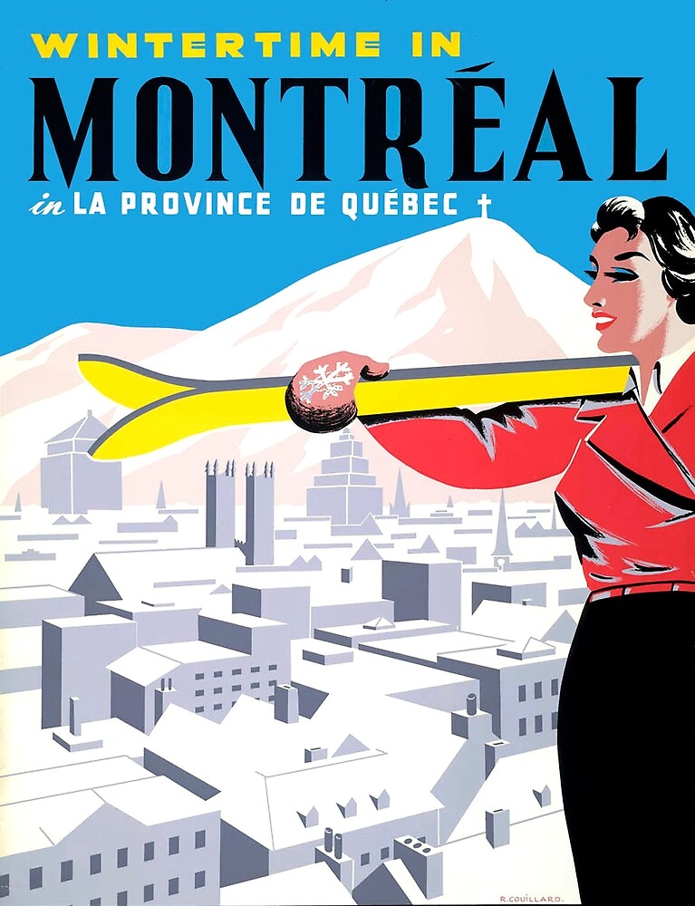 Winter time in Montreal, ski woman, sport, travel poster by AmorOmniaVincit