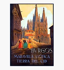 Burgos cathedral, Spain, travel poster Photographic Print