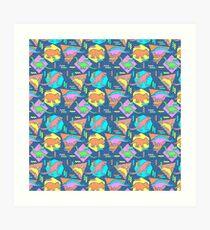 Nineties Dinosaurs Pattern Art Print