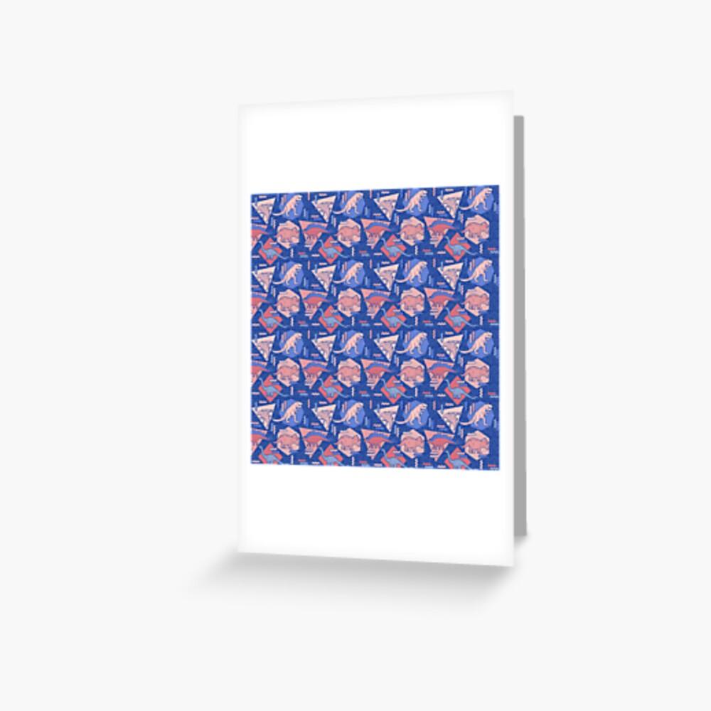 90's Dinosaur Pattern - Rose Quartz and Serenity version Greeting Card