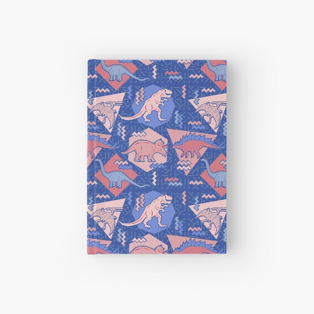 90's Dinosaur Pattern - Rose Quartz and Serenity version Hardcover Journal
