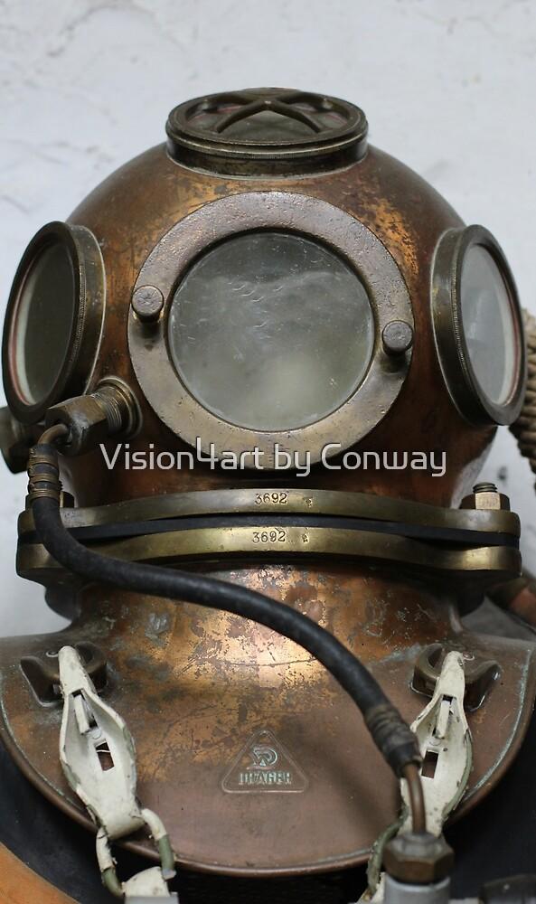 Antique vintage metal underwater diving helmet by Tom Conway