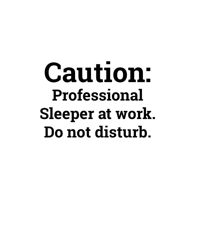 Caution: Profession Sleeper at Work by Skybuzz