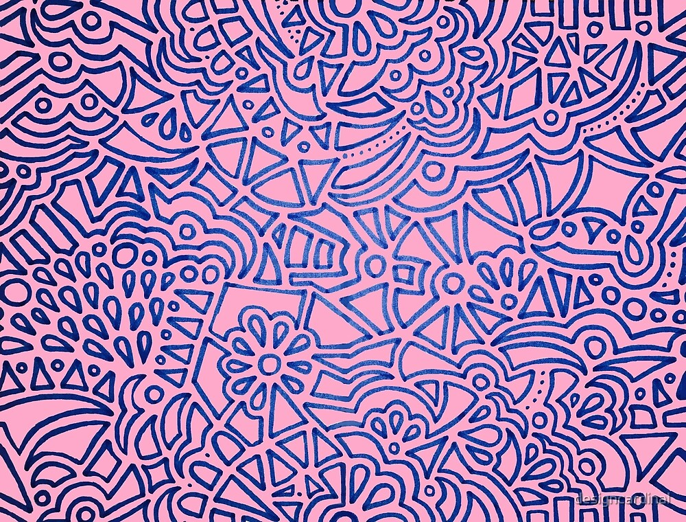Blue Geometric Patern on Pink by designcardinal