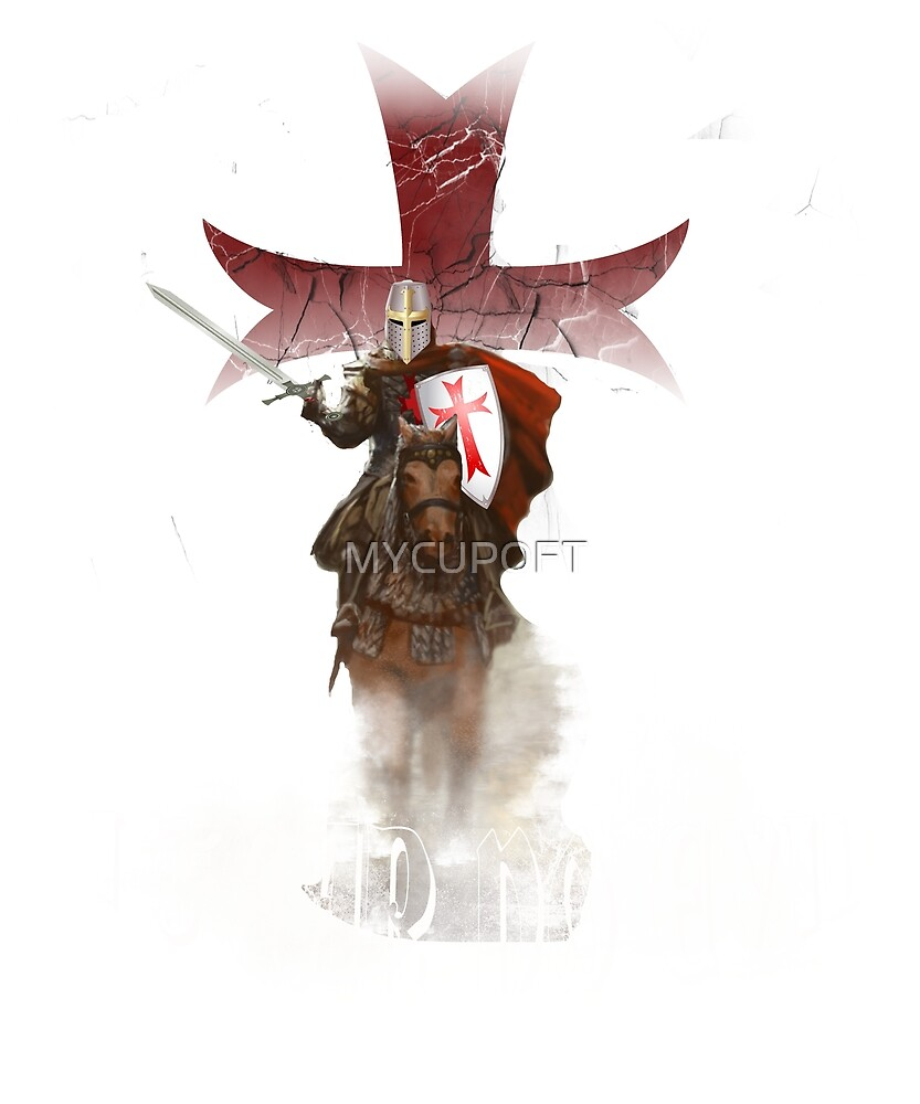 Knights Templar Cross Shield Sword T-Shirt by MYCUPOFT
