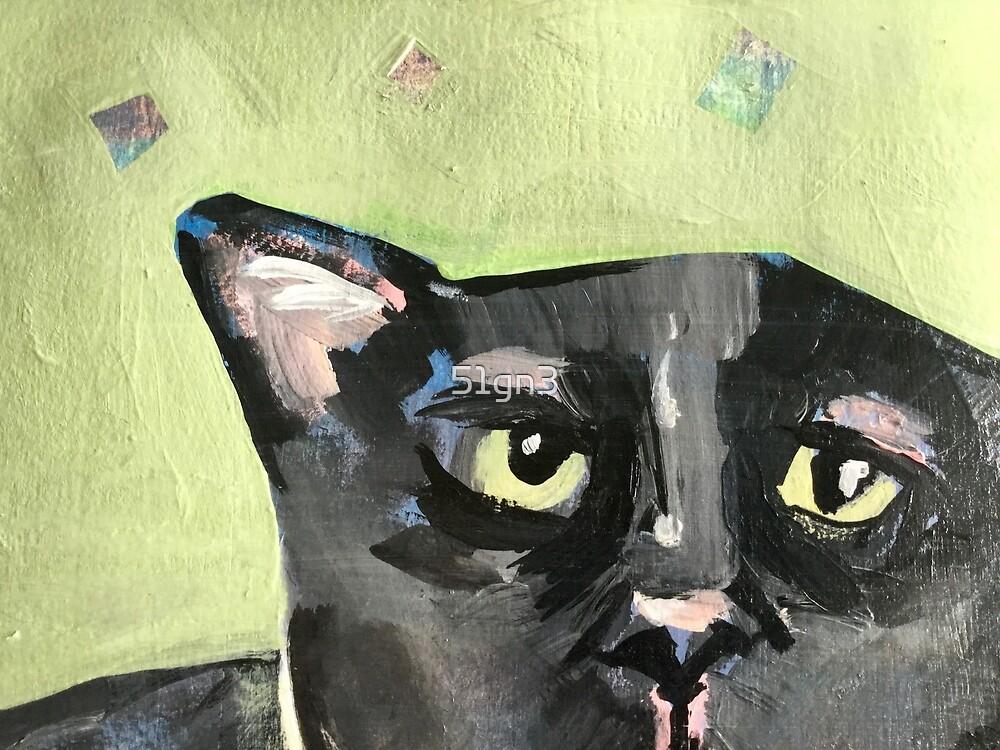 4 eared black cat  by 51gn3