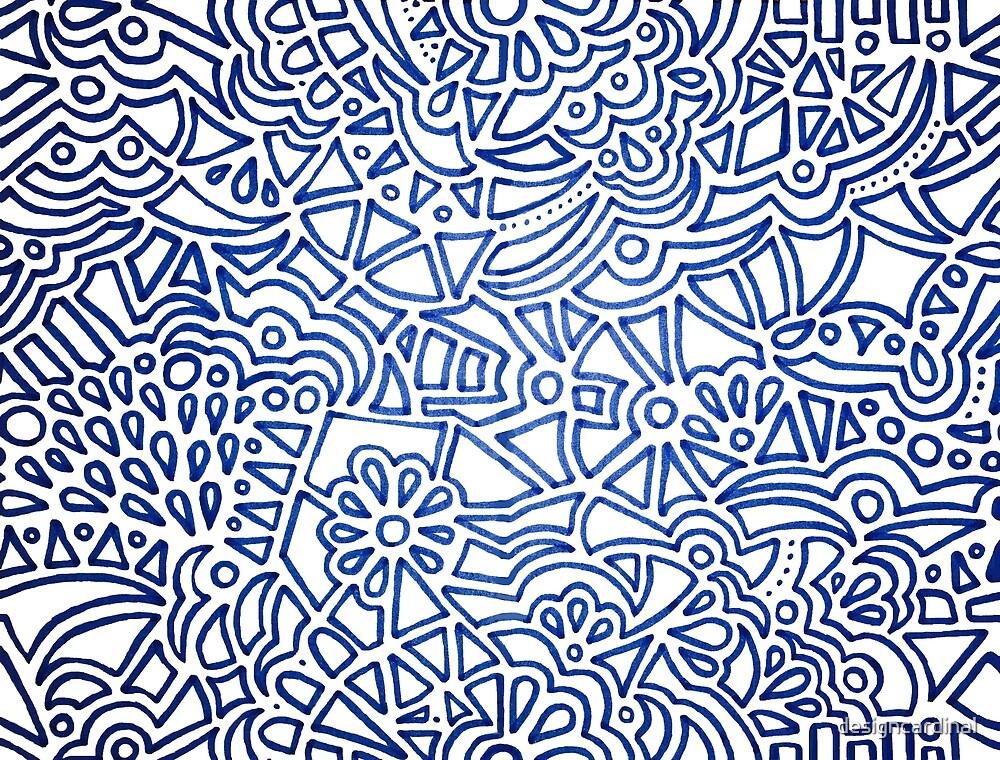 Dark Blue Geometric Pattern on White by designcardinal