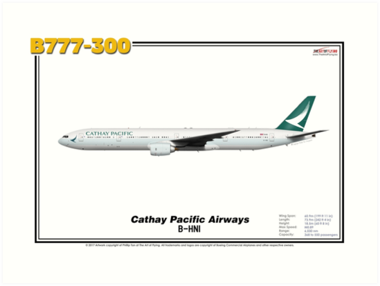 Boeing B777-300 - Cathay Pacific Airways (Art Print) by TheArtofFlying