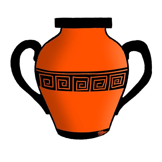 Orange Ancient Greek Pot Posters By ZombiePunkRat