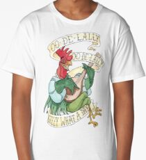 Alan-A-Dale Rooster : OO-De-Lally Golly What A Day Tattoo Watercolor Painting Long T-Shirt