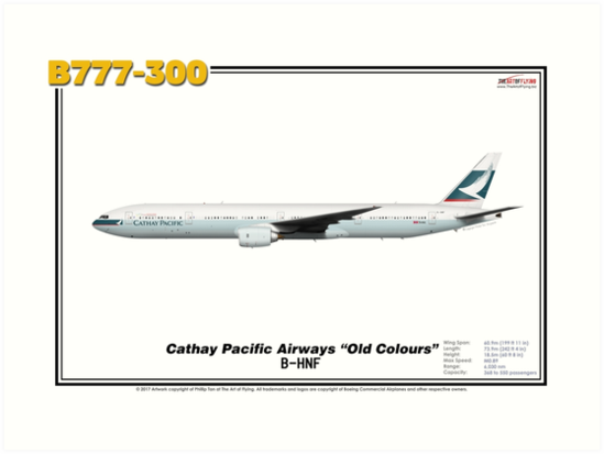 """Boeing B777-300 - Cathay Pacific Airways """"Old Colours"""" (Art Print) by TheArtofFlying"""