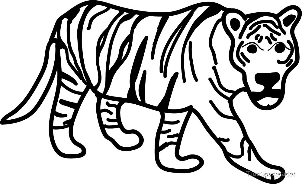 Simple black and white tiger by TrueSpacecadet