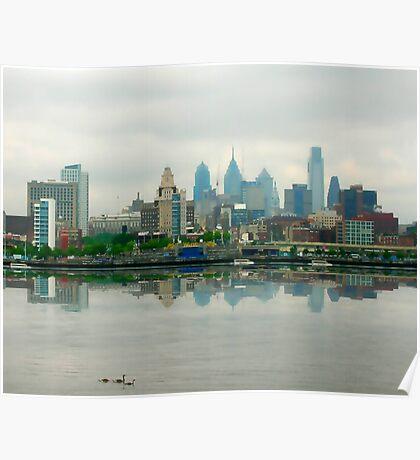 Philadelphia Skyline Post Card Poster