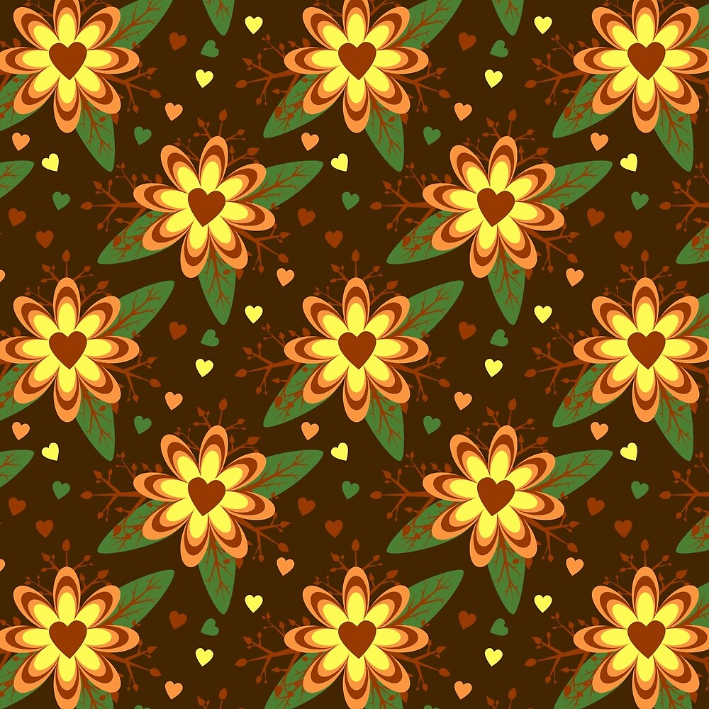 Brown and Gold Daisy Flowers with Heart Centers by Elaine Plesser