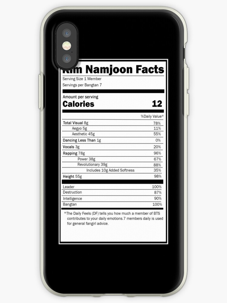 Nutrition Facts: BTS Namjoon - iPhone Ver by hobiforjin