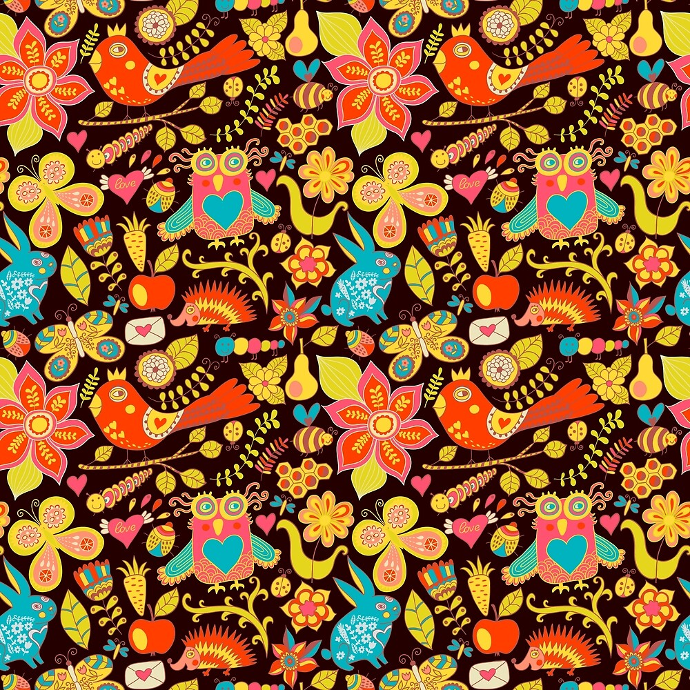 Colorful Whimsical Forest Animals, Birds and Flowers on Dark Background by Elaine Plesser