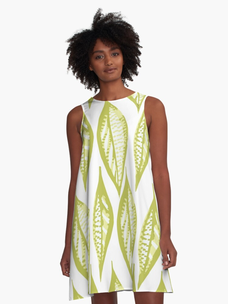 branch  bright  color  decor  yellow A-Line Dress Front