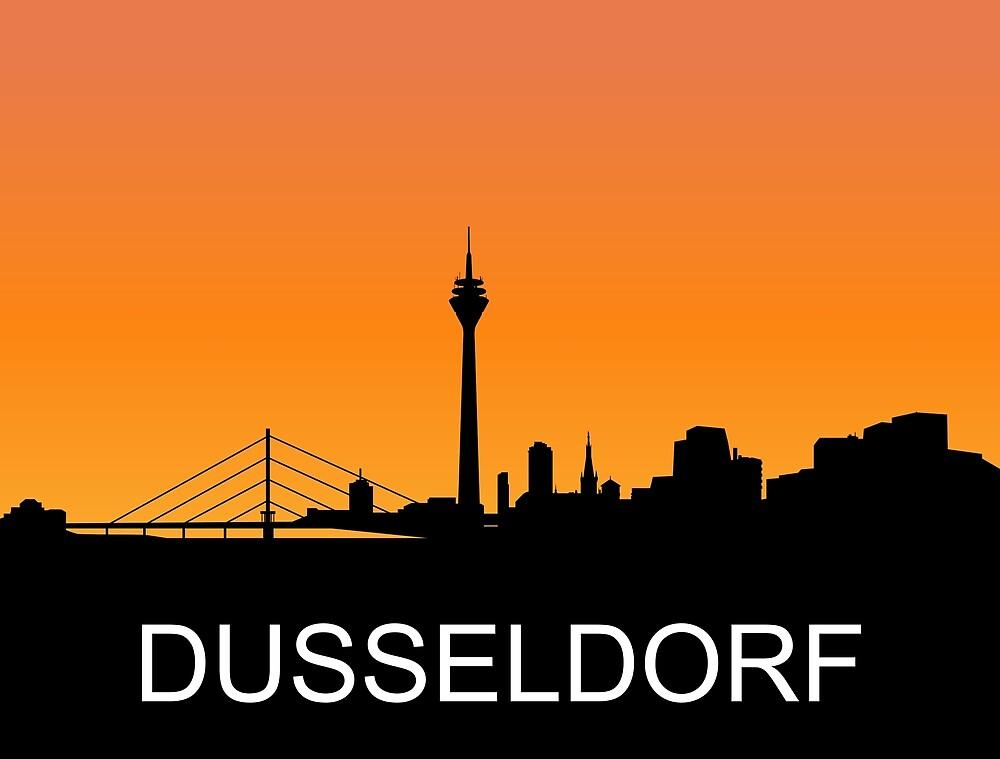 Dusseldorf, Germany, romantic sunset, travel sticker by AmorOmniaVincit