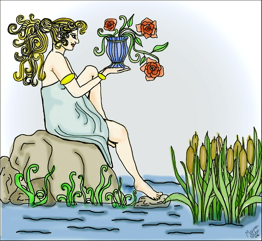 Elf and Roses by the Pond by Maureen Older