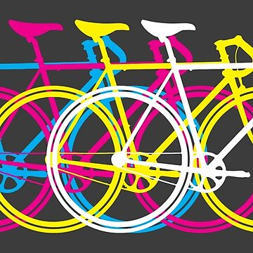 Four Bicycles Bikes CMYK by design511