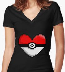 PokeHeart Women's Fitted V-Neck T-Shirt
