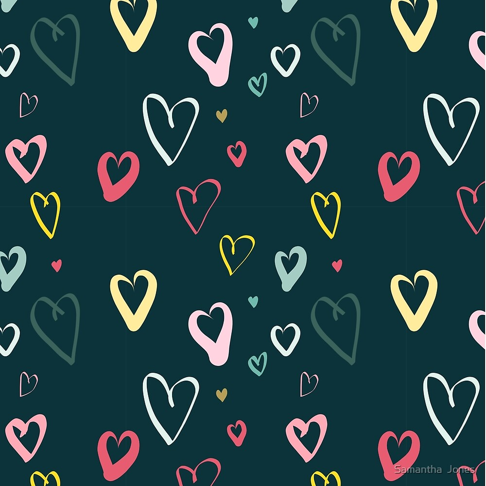 Dark Doodle hearts by Samantha  Jones